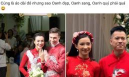 Cùng diện áo dài đỏ, Hoàng Oanh được khen hết lời, Lưu Đê Ly thì bị chửi 'tâm sinh tướng'