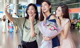 Hoa hậu Lương Thuỳ Linh giản dị về nước trong sự chào đón của Á hậu Kiều Loan và Tường San cùng các fan