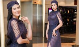 Hoa hậu Ngọc Hân hiếm hoi mặc váy xuyên thấu, khoe chân dài