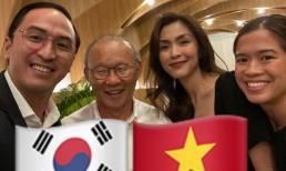 Vợ chồng Hà Tăng khoe khoảnh khắc háo hức vì lần đầu gặp HLV Park Hang Seo