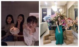 Hương Giang mừng sinh nhật giản dị nhưng phòng ngập hoa và quà hiệu thì không thường chút nào