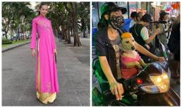 'Tình cũ G-Dragon' Kiko khoe ảnh mặc áo dài hồng tại TP.HCM, thích thú với chú chó đội mũ bảo hiểm siêu cute