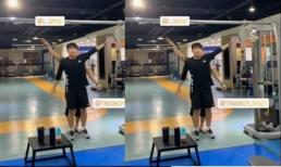 Trường 'híp' khiến fan bật cười khi tập thể dục như múa trên nền nhạc Sơn Tùng