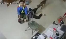 Nhân viên cây xăng quật ngã tên cướp có dao như phim hành động