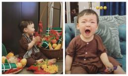 Con trai Á hậu Tú Anh diện đồ quê đón giao thừa nhưng khoảnh khắc khóc 'thả ga' mới là đáng yêu nhất