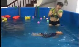 Clip dạy bơi cho trẻ sơ sinh khiến nhiều người nín thở, không dám xem hết