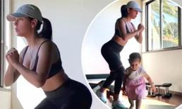Bạn gái C.Ronaldo tập thể dục cùng con gái khi cách ly tại nhà nhưng hàng triệu người chỉ đổ dồn xem màn khoe vòng ba có chủ đích