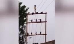 Bàng hoàng cảnh bé trai 5 tuổi vô tư đứng trên đỉnh cột điện cao thế