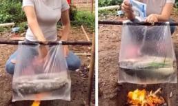 Cô gái trổ tài dùng túi nilon nấu cá khiến dân mạng cứ ngỡ đang làm ảo thuật