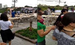 Đám cưới ở Hà Nội thất thủ, rạp và cỗ bị dông lốc thổi bay trong nháy mắt