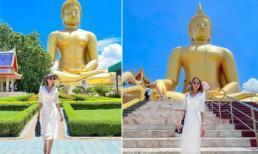 Diễn viên Xuân Nguyễn thành kính viếng tượng phật vàng trên đất Thái