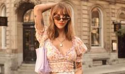 Cổ áo vuông + váy nửa = công thức mặc đẹp nhất mùa hè này, vừa thể hiện sự thanh lịch, thông minh vừa thời trang