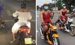 Loạt nam nhân 'bắt trend' mặc váy lái xe máy ra đường