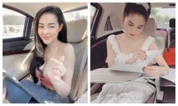 Bắt chước phong cách doanh nhân làm việc trên xe như Ngọc Trinh, Ngân 98 nhận mỉa mai: 'Vịt mãi là vịt'