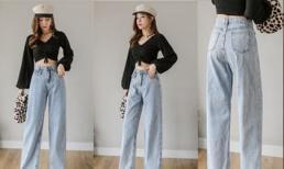 Một kiểu quần tây phù hợp cho mùa thu là quần jean cạp cao, mỏng kết hợp với áo phông đa dạng để giảm tuổi