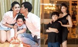 Bẵng đi một thời gian, con trai Trương Quỳnh Anh đã lớn phổng phao, mới 8 tuổi đã cao gần bằng mẹ