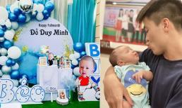 Cầu thủ Duy Mạnh và 'Công chúa béo' Quỳnh Anh tổ chức tiệc đầy tháng cho con trai