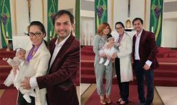 Vợ chồng diễn viên Đức Tiến làm lễ rửa tội cho con gái tại Mỹ