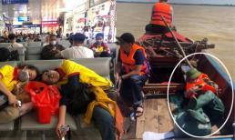 Hình ảnh Trang Trần tranh thủ ngủ trên thuyền khi đi cứu trợ miền Trung gây xúc động