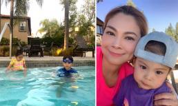Còn bé xíu nhưng con gái Thanh Thảo đã rất thương anh trai Jacky