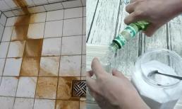 Những vết bẩn trên gạch rất khó tẩy rửa? Chỉ cần xịt thứ này, sau đó lau rất dễ sạch!