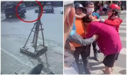 Khoảnh khắc cô gái bị xe tải cán qua người khi dừng đèn đỏ, người thân khóc ngất tại hiện trường
