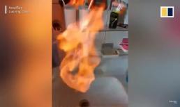 Nước máy chảy ra từ vòi bốc cháy rừng rực khi được châm lửa
