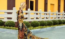 Thái Thị Hoa giành giải huy chương vàng cho phần thi trang phục dân tộc tại Hoa hậu Trái đất 2020