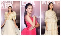 """Tiểu Vy, Lương Thuỳ Linh """"đọ"""" nhan sắc tại tuần lễ thời trang"""