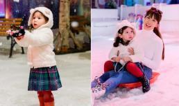 'Tan chảy' trước vẻ ngoài đáng yêu của con gái siêu mẫu Hà Anh khi được mẹ đưa đi trượt tuyết