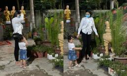 Hậu ồn ào gia đình nhà chồng, vợ cũ cố ca sĩ Vân Quang Long giản dị đưa con gái đi chùa đầu năm