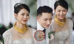 Bà xã Phan Mạnh Quỳnh đeo vàng nặng trĩu trong đám cưới