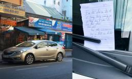 Đỗ xe 'án ngữ' trước cửa quán, chủ ô tô vẫn đươc cư dân mạng khen nức nở chỉ vì một mẩu giấy này