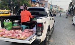 Giữa mùa dịch, người phụ nữ đi bán thịt theo cách 'sáng tạo' khiến nhiều người thắc mắc 'đi làm vì đam mê'?
