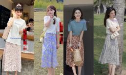 Áo phông + váy hoa, mùa hè nên diện thế này. Vừa thời trang, mát mẻ lại trông rất tây