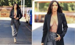 Megan Fox 'đốt mắt' người nhìn với màn khoe vòng một gợi cảm khi mặc áo lưới xuyên thấu gắn kim cương