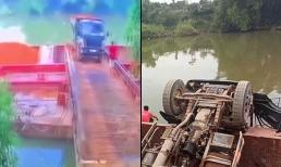 Xe tải chở đất lật xuống sông, 8 tiếng sau mới tìm thấy tài xế bị mất tích