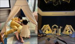 Chuẩn con nhà giàu như con gái Cường Đô La, được bố mẹ trang bị hẳn không gian cắm trại tại nhà trông mê ly