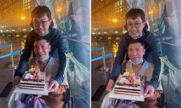 Hình ảnh nghệ sĩ Công Lý ngồi xe lăn, đón sinh nhật cùng đồng nghiệp khiến fans lo lắng