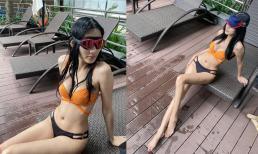 Á hậu Hoàng Thùy tung ảnh bikini khoe vòng một căng đầy nhưng bị soi chi tiết dùng lại đồ cũ