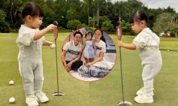 Biểu cảm cực đáng yêu của con gái Cường Đô La khi lần đầu được bố mẹ cho đến sân golf