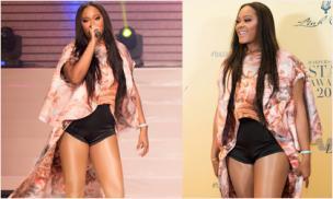 Nữ ca sĩ từng lọt top Billboard Hot 100 - Shontelle cực gợi cảm khi diện trang phục của NTK Việt