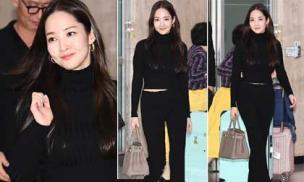 Mặc cả cây màu đen, 'nữ hoàng dao kéo' Park Min Young vẫn 'nổi như cồn' ở sân bay với vòng eo con kiến và túi Hermes sang chảnh