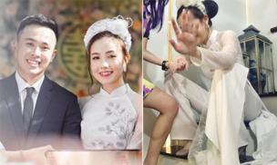 Mie Nguyễn khoe ảnh đẹp trong ngày ăn hỏi, đáng chú ý là hình ảnh sợ hãi ngồi bệt trước giờ lên xe hoa