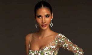Trang phục dạ hội lấy cảm hứng từ giọt hoa tuyết của Hoàng Thuỳ tại Miss Universe 2019