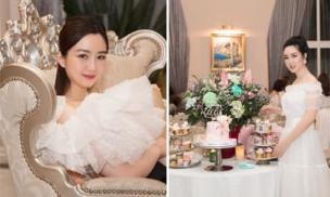 Hoa hậu Giáng My tự tay vào bếp nấu ăn, cắm hoa để tổ chức sinh nhật cho con gái