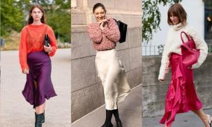Áo len + váy sa tanh là trang phục cao cấp trong mùa thu, người biết đi trước xu hướng luôn là người khí chất ngời ngời