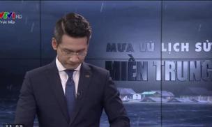 BTV Tuấn Dương của VTV nghẹn ngào, không nói nên lời trên sóng trực tiếp khi dẫn chương trình về mưa lũ miền Trung