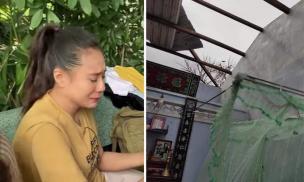 Diễn viên Hồ Bích Trâm bật khóc khi nhà ở quê bị tốc mái, hư hết lúa do bão số 9