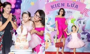 Vắng chồng Việt kiều, Trang Trần tổ chức sinh nhật hoành tráng cho con gái cưng Kiến Lửa tròn 5 tuổi